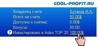 инвестировано в Index Top 20 cool-profit.ru