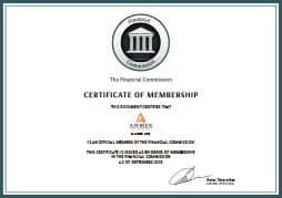 сертификат Financial Commission для aforex