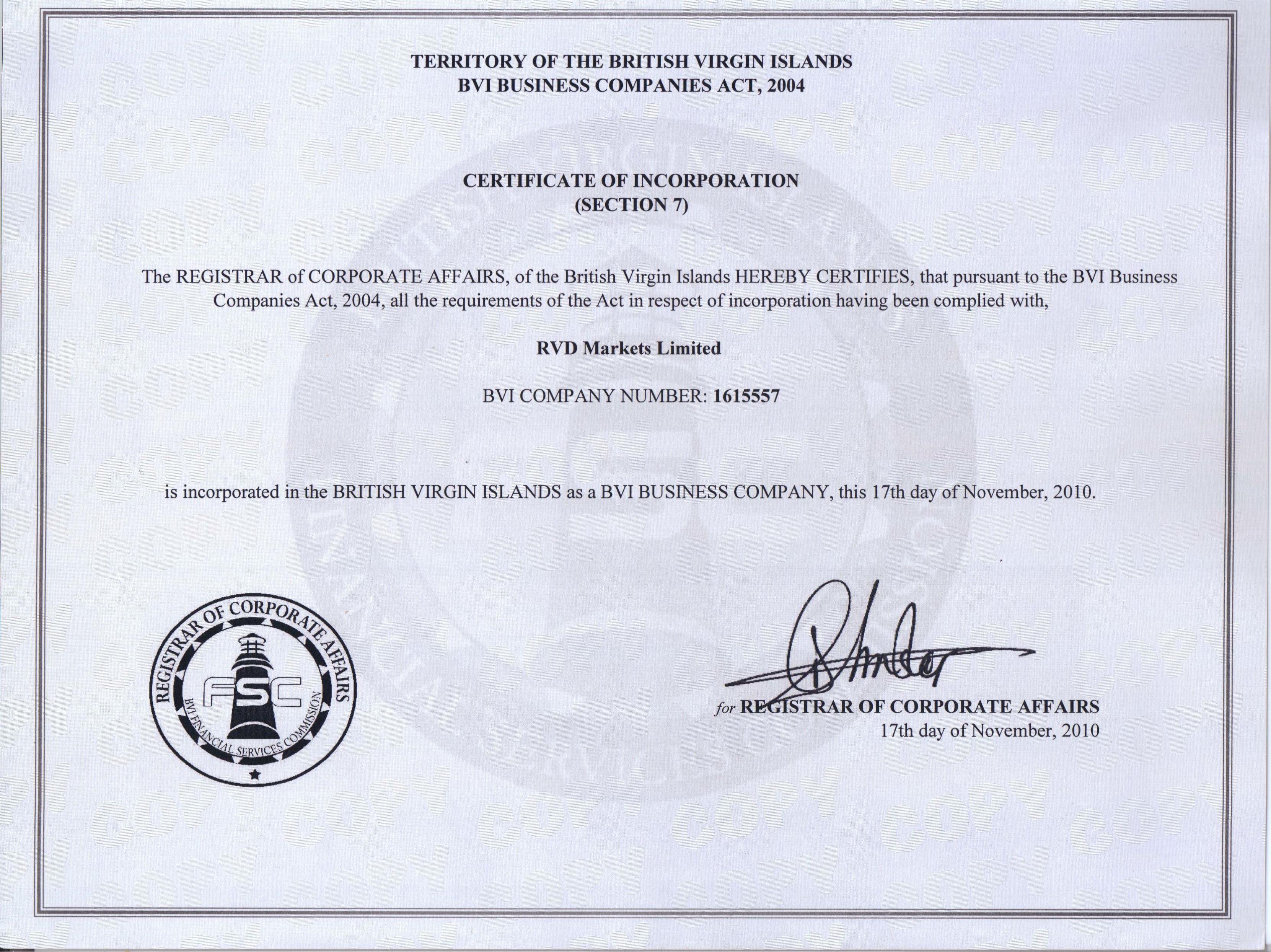 Документы брокера RVD Markets. Сертификат RVD Markets Limited. Для cool-profit.ru